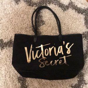 Black and gold Victoria's secret tote
